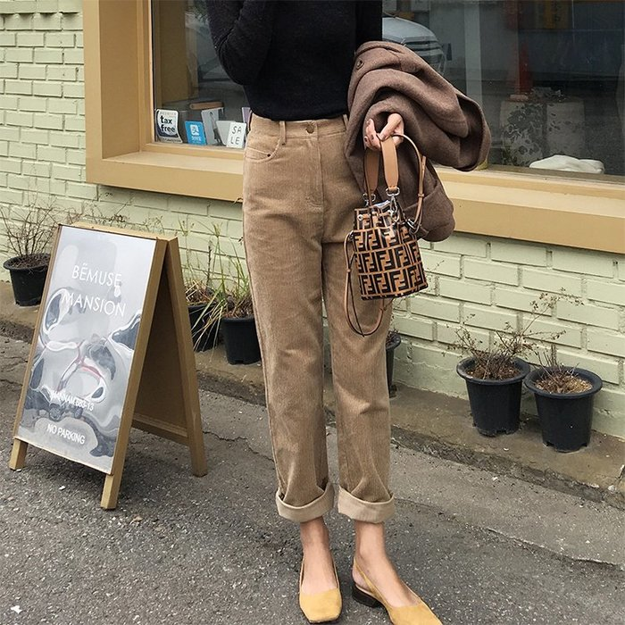 ACHIC┼歐美英倫basic items古董感燈芯絨 高腰直筒褲~咖啡,米白