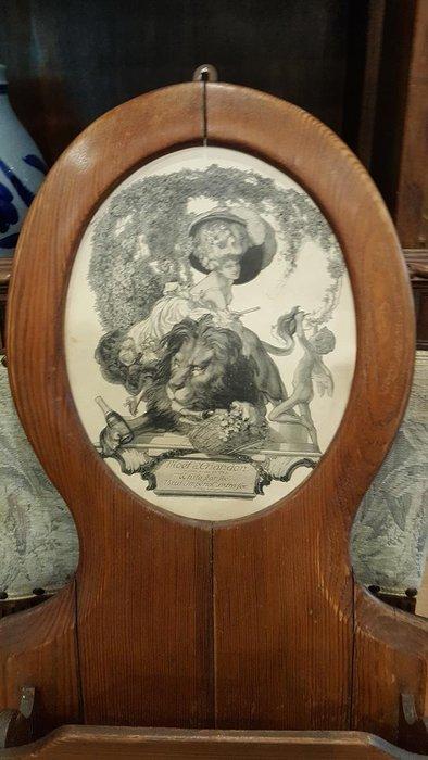 【卡卡頌 OMG歐洲跳蚤市場 / 西洋古董 】歐洲 老件 優雅 女士與獅子繪像 信插 木掛飾 w0091
