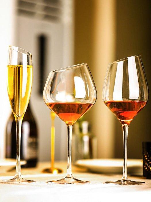 新品上市#胡桃里斜口紅酒杯葡萄酒杯高腳香檳杯玻璃酒杯創意勃艮第波爾多杯