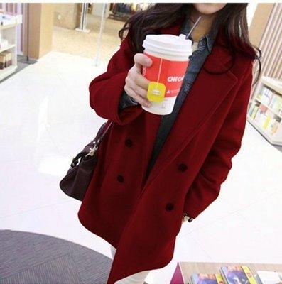 現貨 卡其 XL 秋冬装新款女装修身学生后开叉妮子大衣韩版可爱毛呢外套