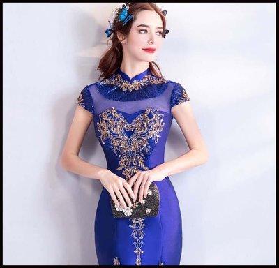 哆啦本鋪 天使嫁衣 時髦氣質名媛寶石藍色晚宴年會魚尾禮服旗袍演出服D655