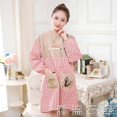 廚房大人做飯罩衣成人長袖 冬季女士圍裙一體式全罩身反穿衣全包
