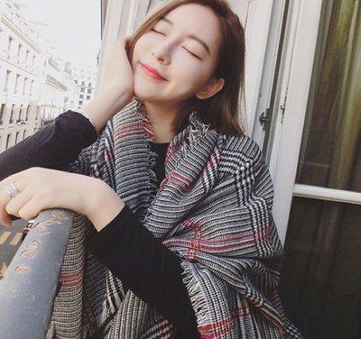 【Princesses 】秋冬新款 韓版千鳥格加長加厚大披肩圍巾圍脖