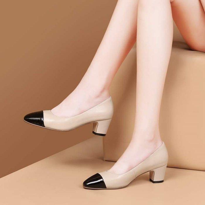 『Alice❤愛麗絲』新款中跟女士單鞋時尚撞色淺口粗跟皮鞋酒紅色方頭女鞋