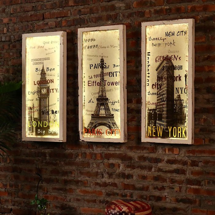 〖洋碼頭〗創意led燈牆上木板畫壁掛飯店酒吧牆面裝飾品掛件客廳裝飾畫牆飾 fjs176