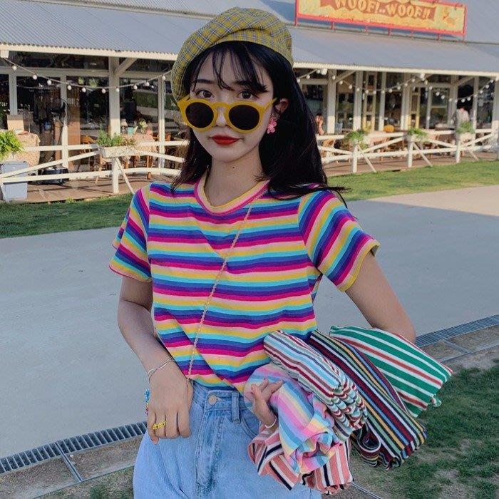 彩虹條紋短袖T恤女夏季新款韓版泫雅風上衣百搭學生寬松休閑體恤