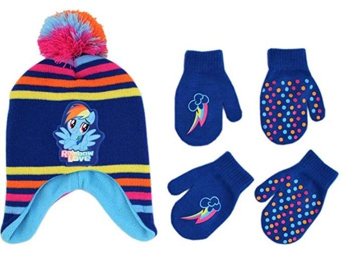 預購 美國帶回 My Little Pony 藍色 彩虹小馬 女童 毛帽+手套兩雙組合 冬季必備