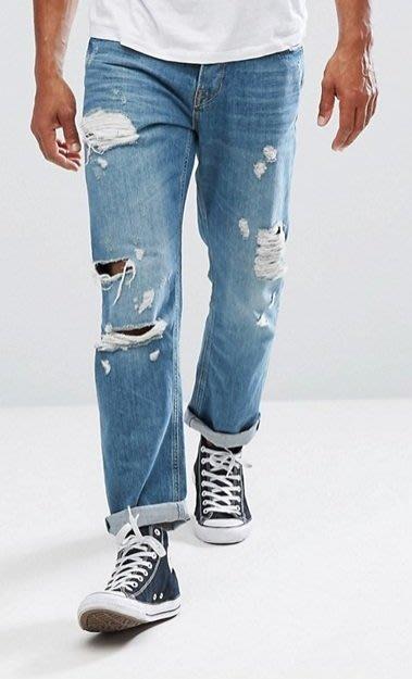 ◎美國代買◎ASOS代買大腿與膝刷破反摺褲口寛鬆褲管英倫頹街風經典藍刷色寛鬆刷破牛仔褲~歐美街風~大尺碼~