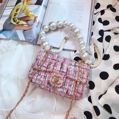 ✤寵愛Pamper for you✤CHANEL 拼色編織毛呢子珍珠手柄鏈條包手提包