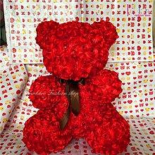☆[Hankaro]☆ 浪漫新創意情人系列精緻緞面玫瑰花小熊充棉玩偶