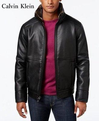 【BJ.GO】Calvin Klein Pebble Faux-Leather Jacket美國CK立領內毛絨皮革夾克