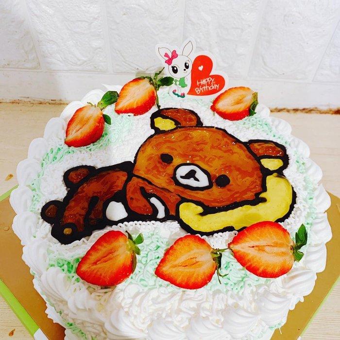 ❤歡迎自取 ❥ 雪屋麵包坊 ❥ 熊熊款式 ❥ 拉拉熊手繪蛋糕 ❥ 8 吋生日蛋糕