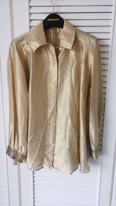 迪奧 CD Dior 金屬色歐根紗珍珠釦珠繡飾袖口傘狀長袖襯衫