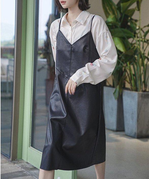 SEYES   基本款復古前衛搖滾黑色皮革細肩帶洋裝/背心裙