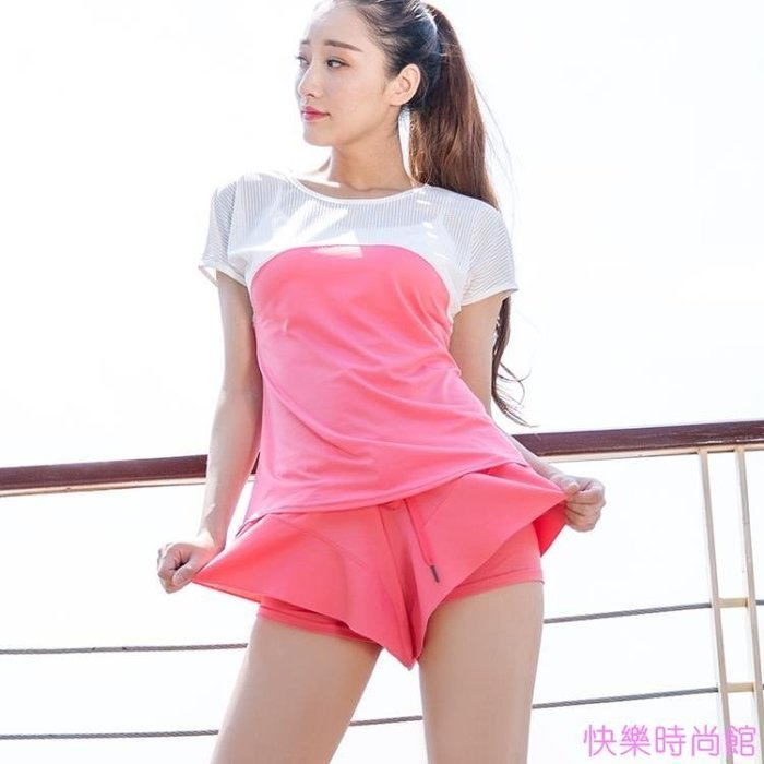 運動短褲女防走光內襯跑步健身瑜伽短褲速干寬鬆裙式大碼馬拉鬆褲