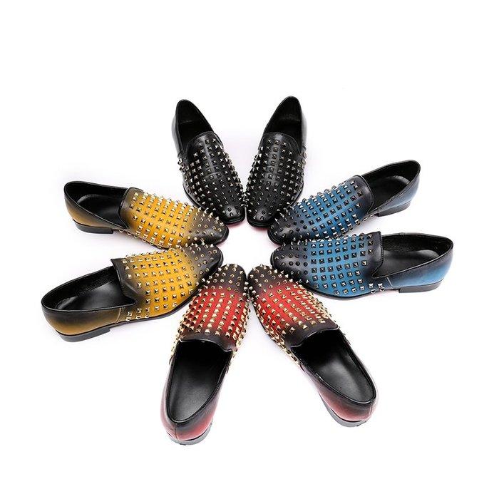 **蛻變英倫**韓國限定版連線熱賣高品質訂製歐美頂級款獨創搖滾復春夏時髦個性男士休閒皮鞋樂福鞋鉚釘真皮時尚小皮鞋透氣鞋子