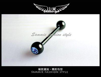 [山米] 個性有型 [黑色鈦鋼] 抗過敏 天空藍水鑽造型直針 耳骨環 體環 單個(賣場購買3項免運)