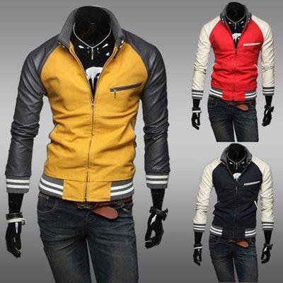 yes99buy加盟-2014男式最新個性針織領皮袖拼接撞色休閒外套 男士百搭修身夾克