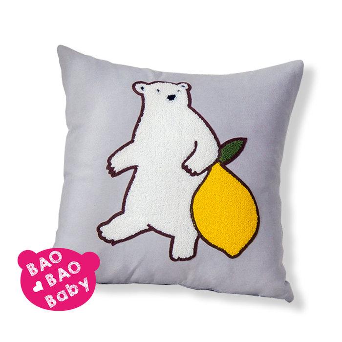 【寶貝日雜包】檸檬熊抱枕套 萊姆熊 小熊抱枕套 沙發抱枕 靠枕 絨毛立體抱枕 枕套 刺繡抱枕