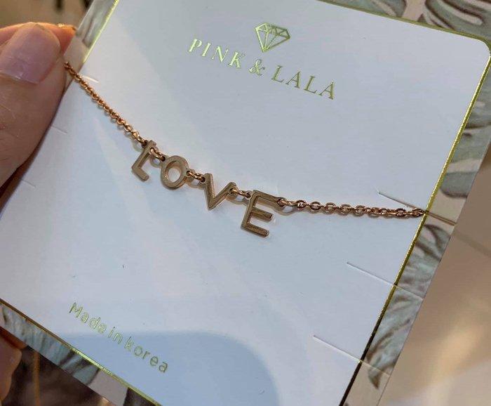 【PINKLALA】真的好精緻氣質款LOVE鈦鋼永久不褪色鎖骨項鍊