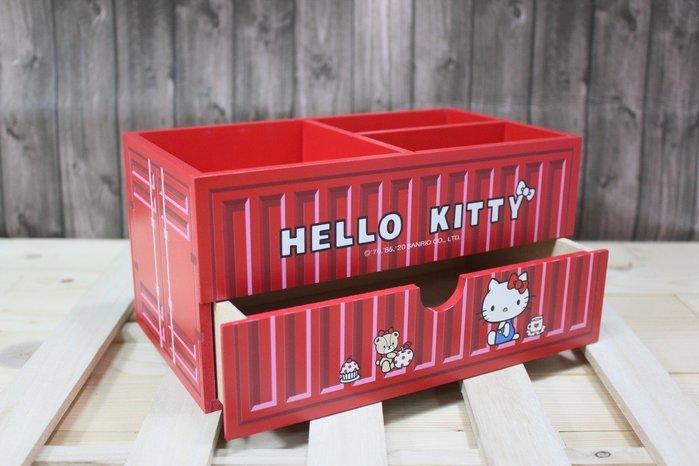 KITTY 貨櫃三格單抽盒 木盒 桌上型收納盒