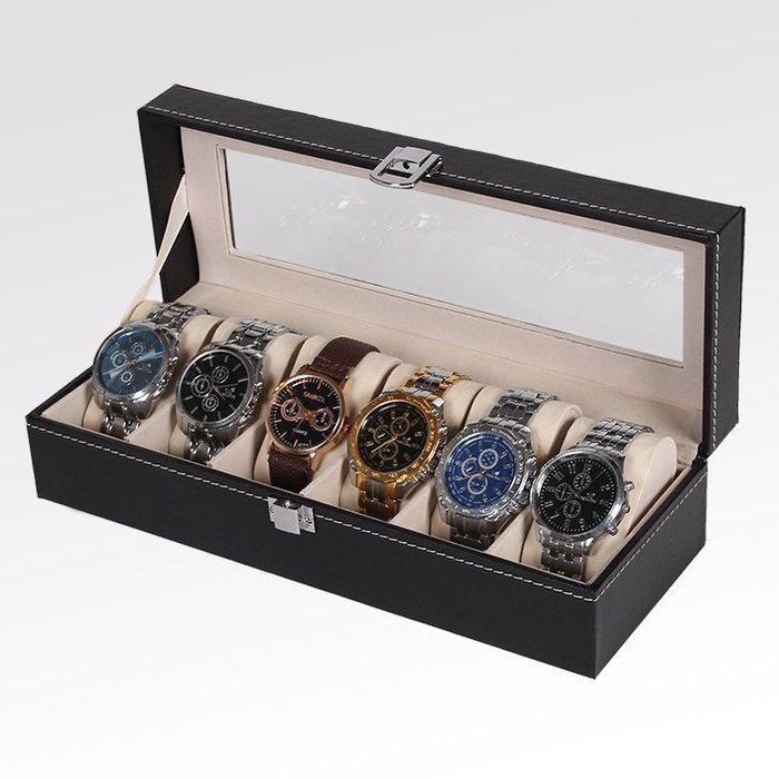 手錶盒皮質首飾盒六位收納盒 手錶盒 pu手錶展示盒 禮盒包裝盒