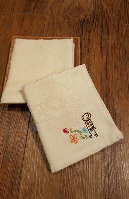 ☆°萊亞生活館 ° 30026 ROBOT紗布提花小手巾-花朵 小毛巾 小手帕  100%有機棉 台灣製造