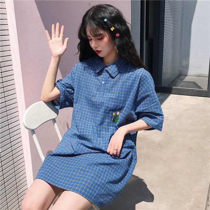 小香風 短袖T恤 時尚穿搭 韓版 氣質中長款寬松格子連衣裙女裝學生法式復古裙子