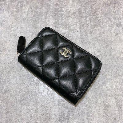 Chanel Coco 拉鍊零錢包 菱格紋 小羊皮 銀釦 黑色《精品女王全新&二手》
