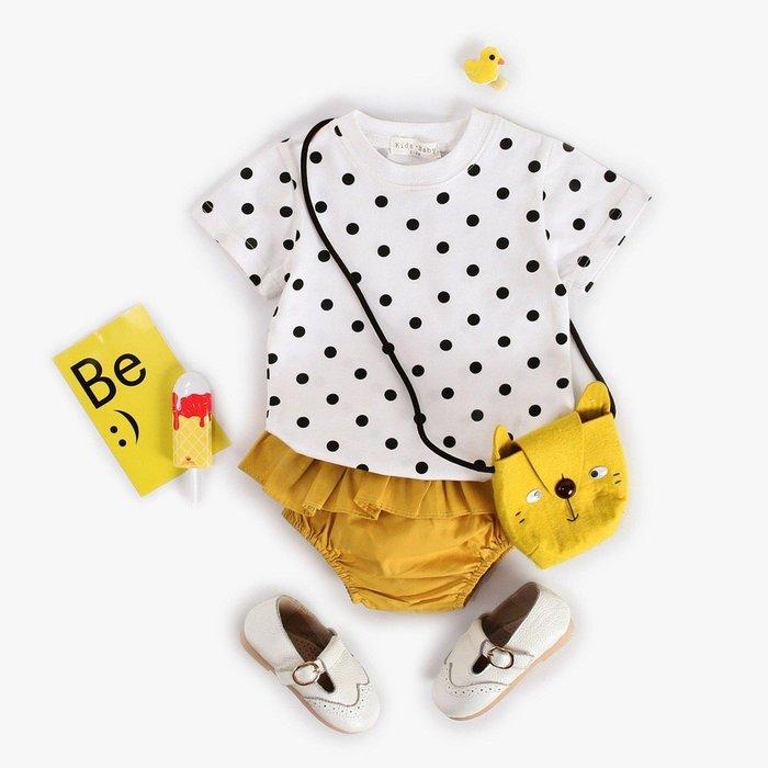 2019夏季新款嬰兒 baby 圓點上衣+黃色三角pp 褲兩件套@KK.KIDS