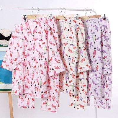 解憂zakka~日系秋冬女士保暖睡衣加厚空氣層和服純棉家居服套裝大碼浴衣