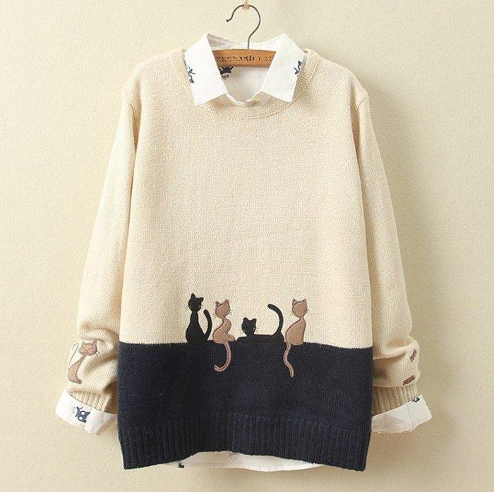 ☆紫米粒小舖☆【R1789】針織 小貓刺繡圖案長袖針織上衣。
