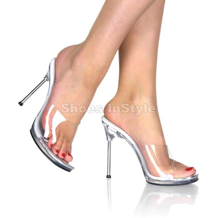 Shoes InStyle《四吋》美國品牌 FABULICIOUS 原廠正品透明金屬高跟拖鞋 出清『銀白色』