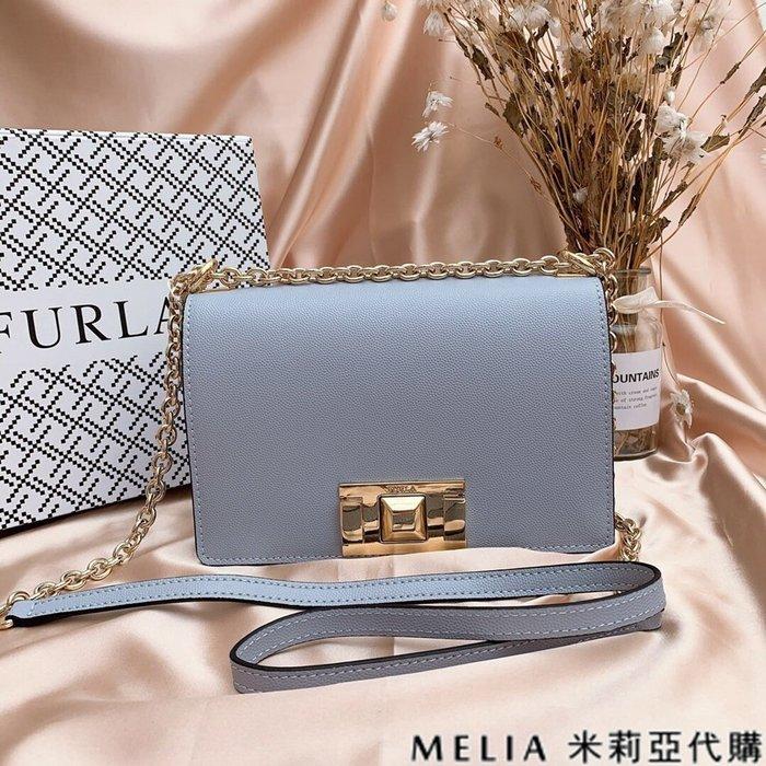 Melia 米莉亞代購 商城特價 數量有限 FURLA MINI 斜背包 牛皮魚子醬紋 時尚簡約 氣質百搭 灰藍色