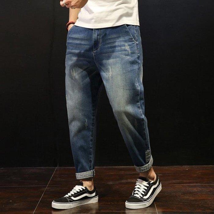 單寧牛仔褲 男寬鬆哈倫褲九分褲小腳褲加肥加大碼胖子9分褲寬管牛仔長褲男褲子t6049