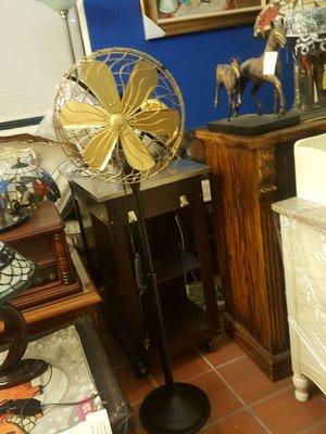 歐式復古電扇  進口 銅扇14吋密網直立扇 銅扇古董電扇
