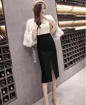 ZIHOPE 秋冬新款韓版女裝修身高腰加厚毛呢中長半身裙包臀裙一步裙ZI812
