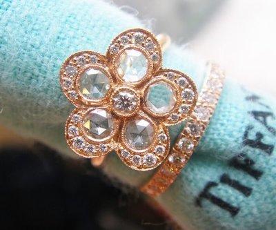 (全新) Tiffany 18RK 玫瑰式切割鑽戒+Nova 整圈線戒,專櫃價26萬5000元