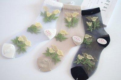 *╮S.water shop╭* 蕾絲花邊 中筒襪 透明水晶絲短襪/ 復古堆堆襪 共3色 FN#00226-1(現貨)