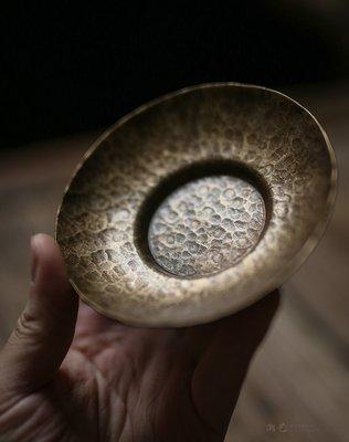 中式茶具 茶盤置物 純手工純銅紫銅杯墊 日式防滑隔熱金屬杯墊 錫銀茶托茶道配件仿古