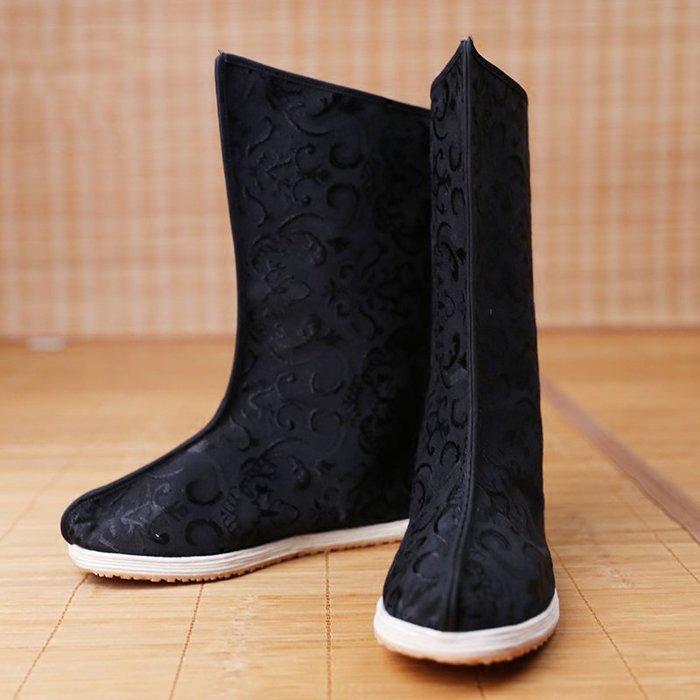 漢服男女周邊配飾黑色提花棉漢式千層底布靴定制非古裝