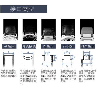 時尚手錶TKN表帶定制 純手工定做特殊接口尺寸凹凸弧接口牛皮鱷魚皮手表帶