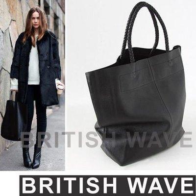 歐美街拍 全牛皮真皮手工編織手把大型托特包 購物袋 實搭黑 asos 現貨不用等《BRITISH WAVE》