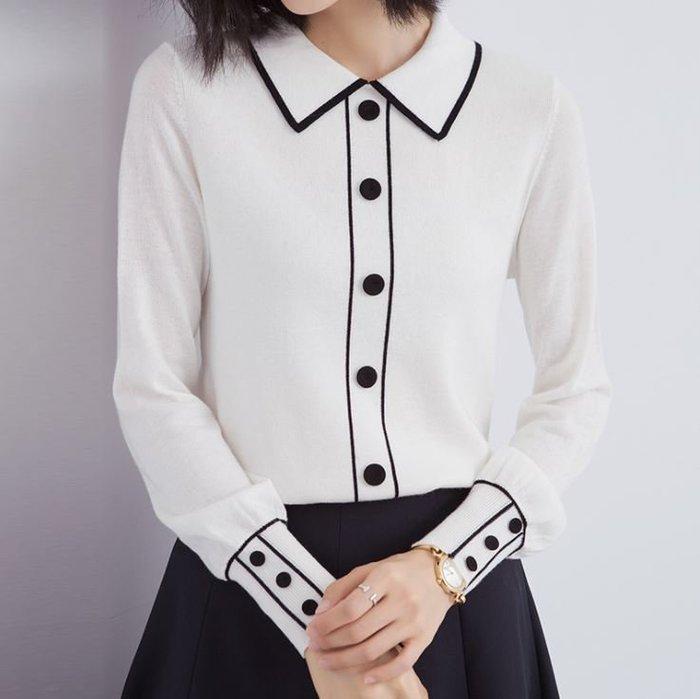 撞色翻領寬鬆針織衫 1302
