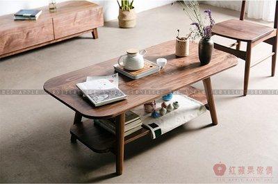 [紅蘋果傢俱]MJ012 茶几 原木 實木 置物架 地櫃 橢圓茶几