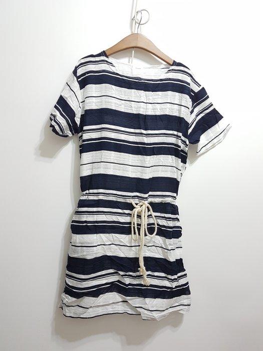 A7韓國衣衣~腰綁帶 左右口袋麻洋裝~裙有內裡
