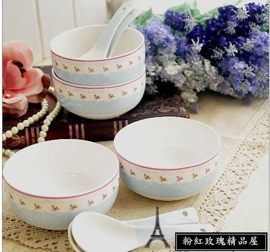 粉紅玫瑰精品屋~韓式外貿田園碎花骨瓷碗匙套裝~二粉二藍