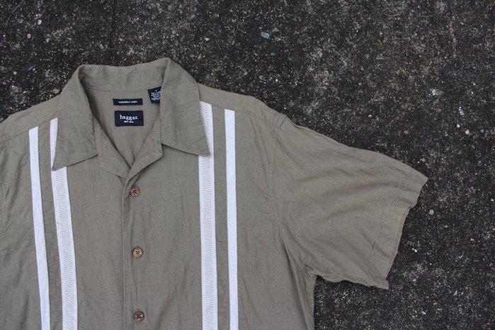 「蔣柒」日本帶回 hagger Vintage 古著 墨綠色 復古襯衫 雙線襯衫 保齡球襯衫 L號 現貨 #330