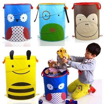 卡通圖案折疊置物籃 輕巧可攜帶彈力收納籃 衣服籃子 玩具收納籃 創意收納  雜物折疊收納桶