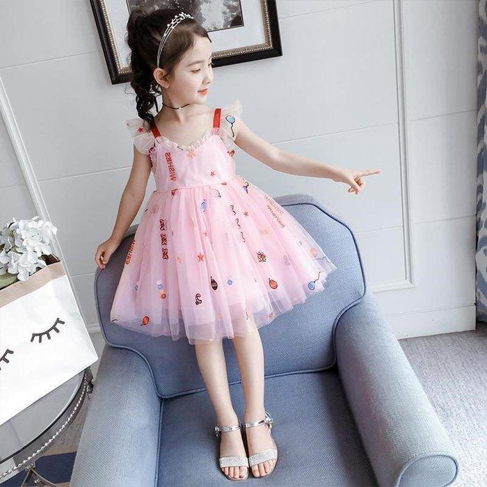 •*~ 辣媽咪衣飾小舖 ~*•❤童裝系列❤K540186韓版大童夏款甜美浪漫洋氣吊帶小仙女蓬蓬紗裙洋裝